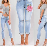 Ripped Jeans for Women Corner Embroidered High Waist Pencil Pants