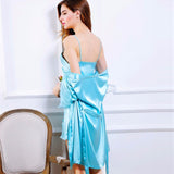 Mamir's Express - Ladies Faux Silk  Robes Two-Piece Satin Lace Nightwear Bridesmaid Robes