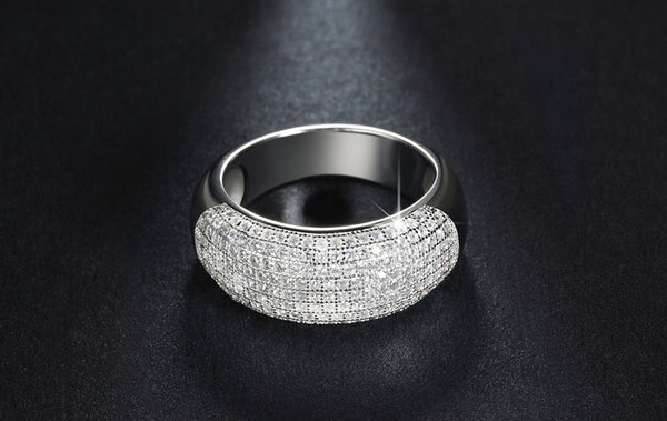 Wedding Band Engagement Ring Paved 168 Pieces Austrian Crystal