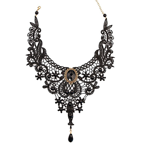 Black Lace Alloy Water-drop Pendant Statement Bib Choker Necklace