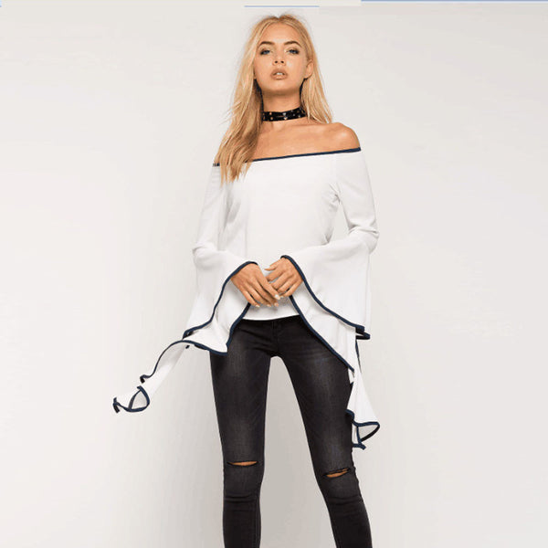 Sexy Tops Butterfly Sleeve Women Casual Blouse