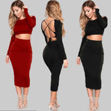 Mamir's Express - Backless Bandage Bodycon Cocktail Mid-Calf Two Piece Long Sleeve