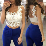 Mamir's Express - Lace Crop Top Summer Sleeveless Tops For Women