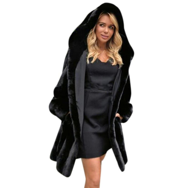 Ladies  Faux Fur Coat Jacket Winter Parka Outerwear