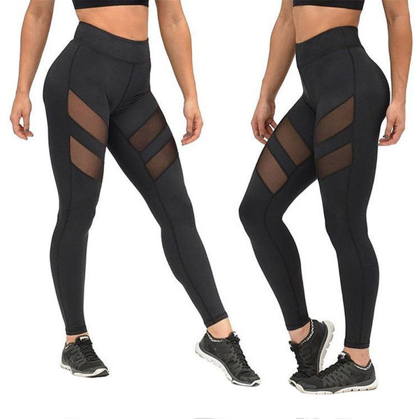 1097a5c53105f Women High Waist Sexy Skinny Leggings Patchwork Mesh Push Up Pants