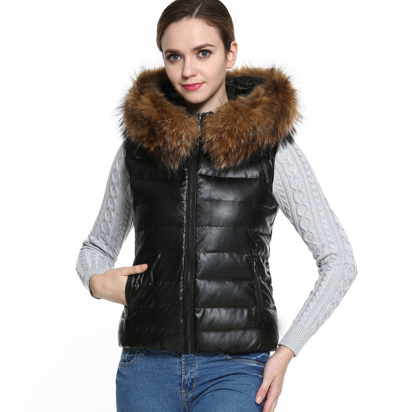 Black Casual Winter Women's Down Cotton Parka Fur Collar Vest  Jacket