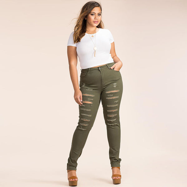 Mamir's Express - Plus Size  Army Green High Waist  Skinny Jeans