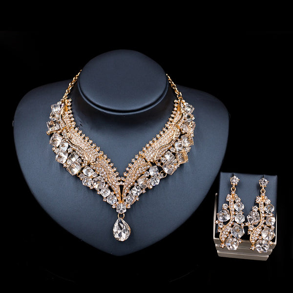 Austrian crystal necklace and earrings wedding Jewelry Set