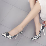Woman Slip On Shoes  Leaves Printings Sexy Stiletto High Heels Pumps