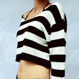 Mamir's Express - Long Sleeve Knit Strapless Sweater Knitting Ultra Loose Elastic Pullover