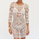 Sexy Cover up Openwork Backless Lace Crochet Swimwear Dress