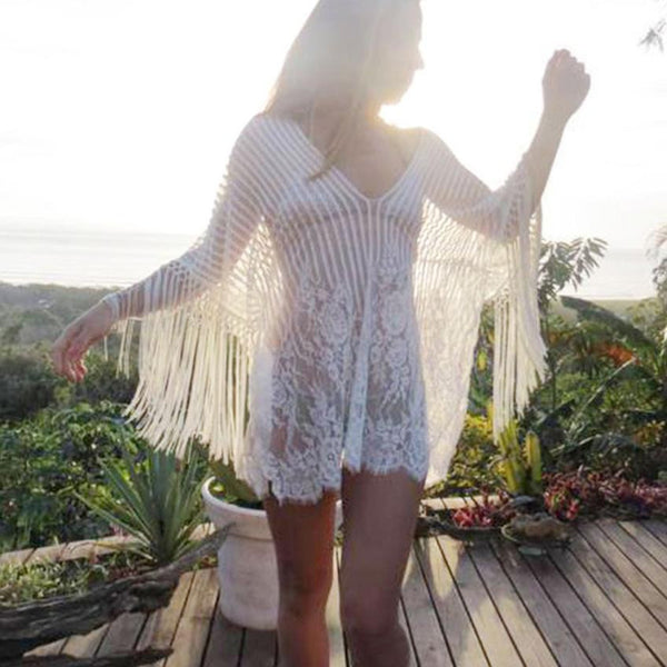 a230ec37e8fd3 Sexy Tassel Beach Cover Up Hollow Swimsuit Crochet Smock Fringed Robe
