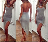 Sexy Gray Backless  Mini Party  dress