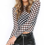 Mamir's Express - Black And White  Round Neck Long Sleeve Mesh Shirt