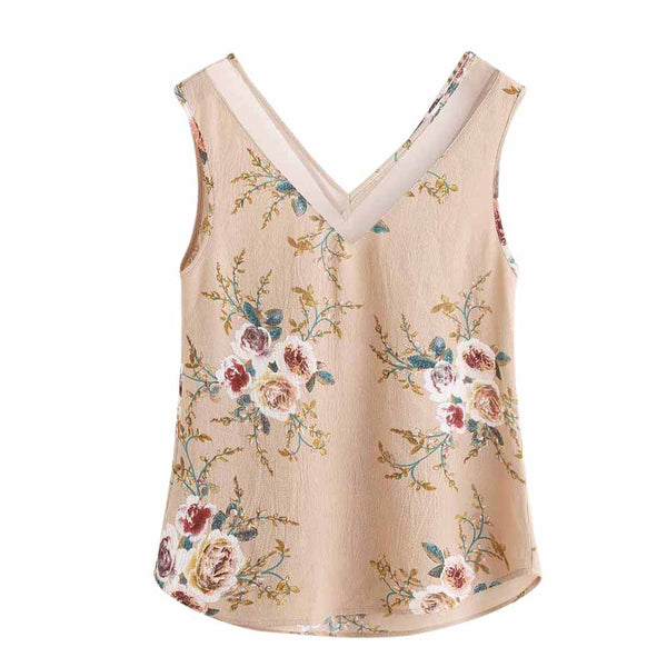 Women Loose Floral Print Crop Top Sleeveless Tank Tops