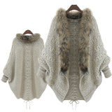 Mamir's Express - Knitted Cardigan Loose Sweater Fur collar Coat
