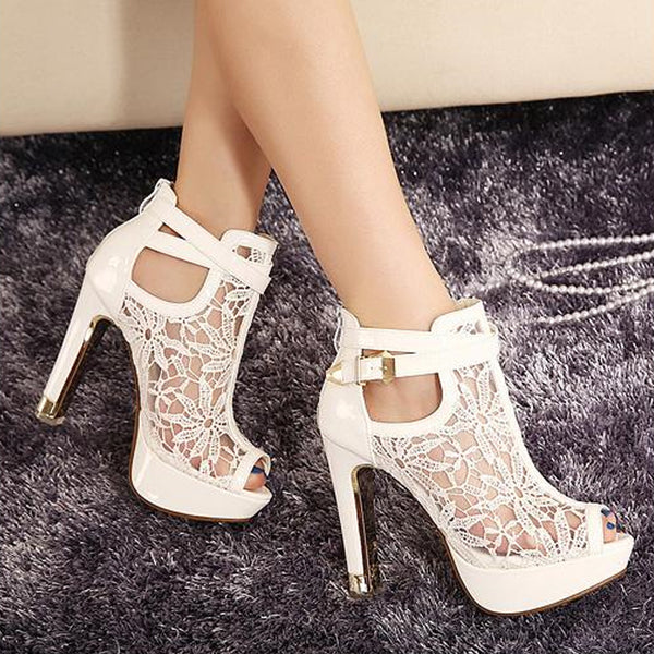 Mamir's Express - Peep Toe Sandals  Women Platform PumpsThick High Heels  Ankle boot