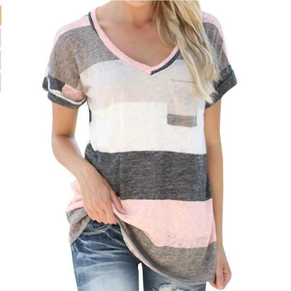 T Shirt  Printed Top With  Pocket Casual For Females