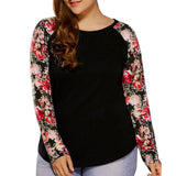 Plus Size Ladies Casual Blouse  Floral Printed Long Sleeve Patchwork Shirts