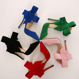Mamir's Express - Big Bow Tie Pumps  Butterfly Pointed Stiletto  High Heels