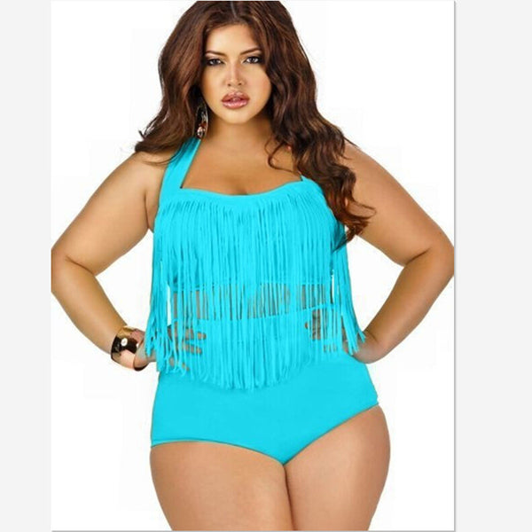 Plus Size Swimwear Bikini Set Sexy Women High Waist Swimsuit Tassel Swimwear Bikini Push Up Biquinis trajes de bano Size 4XL