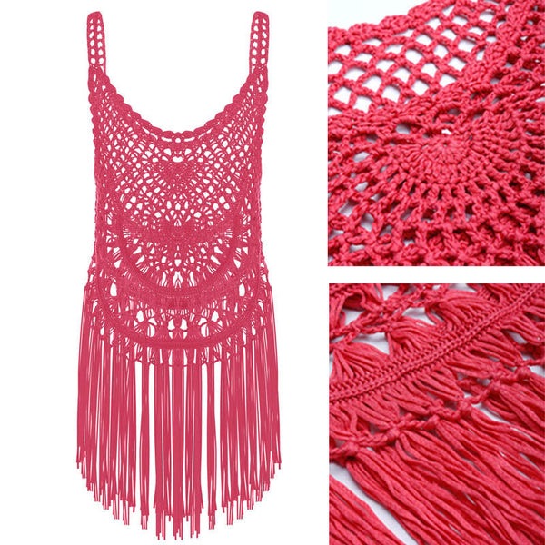 Sexy women hollow out beach cover up crochet bikini cover ups