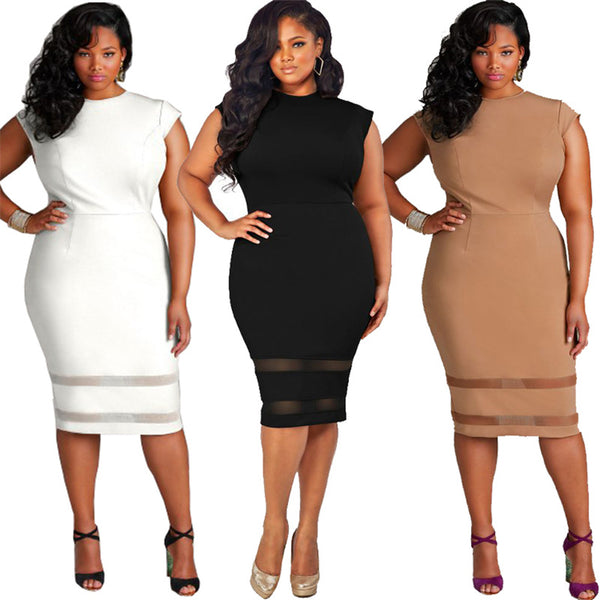 Casual Sexy Sleeveless O-Neck Plus Size  Knee-Length Dress