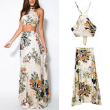 Mamir's Express - Ladies Long Maxi Sexy Halterneck Floral Print Two Piece