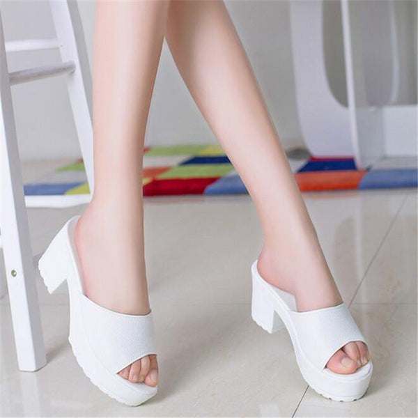 1e3df35902bf83 ... Mamir s Express - Women High Heel Slippers Leather Soft Platform  sandals Ladies Wedges Sandals woman Flip ...
