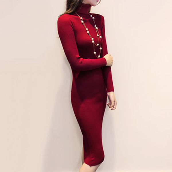 41252cd673576 ... Mamir's Express - Women Autumn Winter Sweater Dresses Slim Turtleneck  Sexy Bodycon Solid Color Robe Long ...