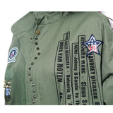 Mamir's Express - Army Green Long Trench Coat with Rivet and Patch Designs