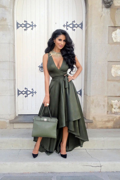 Mamir's Express - Long Maxi  Sexy Sleeveless Low Cut Irregular Slit Belted Dress