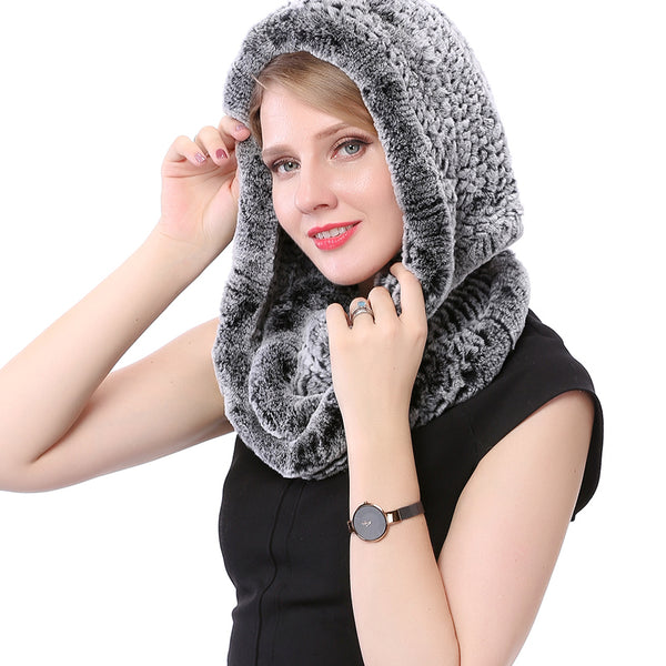 Knitted Rex Rabbit Fur Hat Hooded Scarf