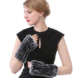 Rex Rabbit Fur Gloves For Women Winter Warm Mittens Bunny Fur Gloves