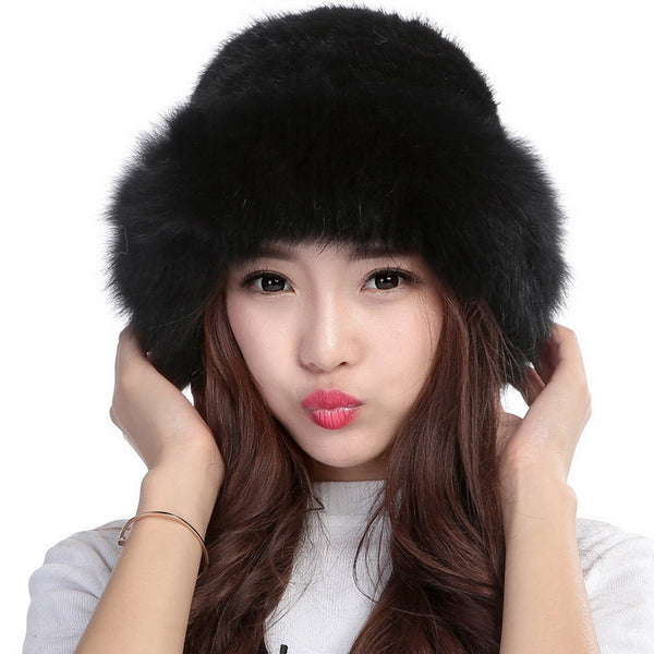 Fur Hat For Female Real Knitted Mink Fur Hat Russian Warm Hat