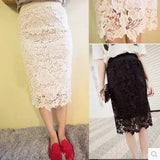 Mamir's Express - White Lace Midi Skirt 6XL 7xl  Plus Size Women Summer saias femininas Floral office/party Evening bodycon pencil skirt