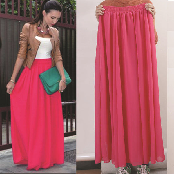3fd511c9671a ... Mamir s Express - Women Chiffon Long Skirts Candy Color Pleated Maxi  Skirts ...