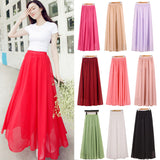 Mamir's Express - Women Chiffon Long Skirts Candy Color Pleated Maxi Skirts