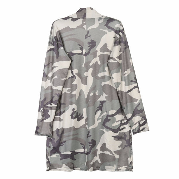 Women Casual Camouflage Kimono Long Sleeve Top Blouse