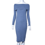 Women Long Sleeve Off Shoulder Winter Stretch Bodycon Long Dress