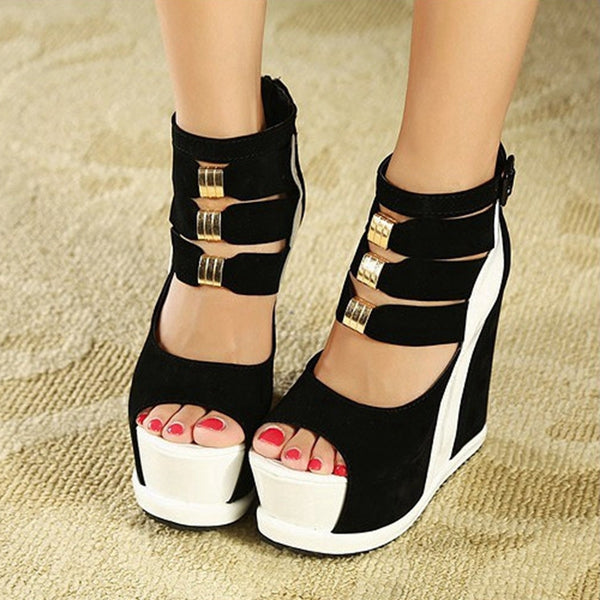 Women Platform Wedges Sandals Sexy High Heels Open Toe