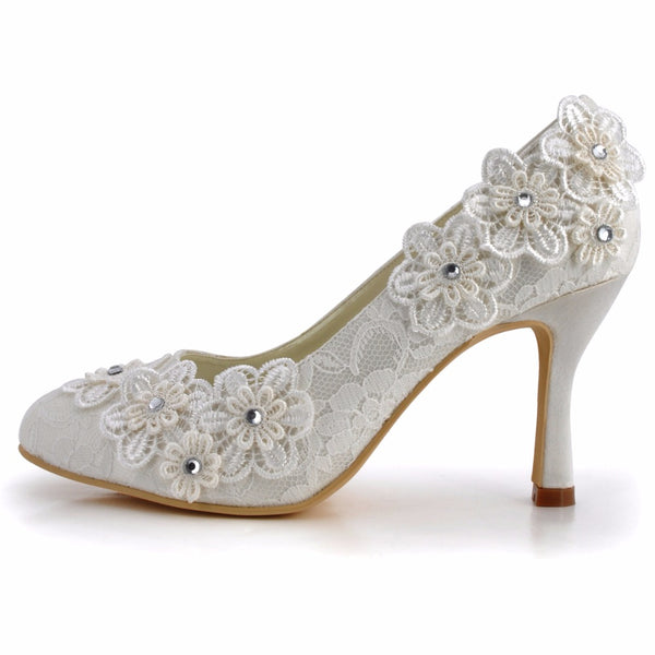 Mamir's Express - Ivory Round Toe High Heels Appliques Lace bride Pumps