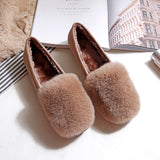 Flock Rabbit Fur  Casual Loafers Round Toe Comfortable Short Plush