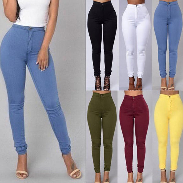 Mamir's Express - Pencil Stretch Pants For Women Slim Ladies High Waist Jeans