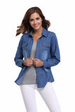 Mamir's Express - Ladies Chambray Denim Shirts and Blouses Long Sleeve Snap Button