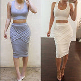 Mamir's Express - Womens Dress Two Piece Sleeveless Dresses Bodycon Crop Top Set Clubwear Party Dress