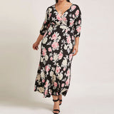 Sexy Plus Size V-Neck Maxi Dress Ladies Casual Dress Long Sleeve