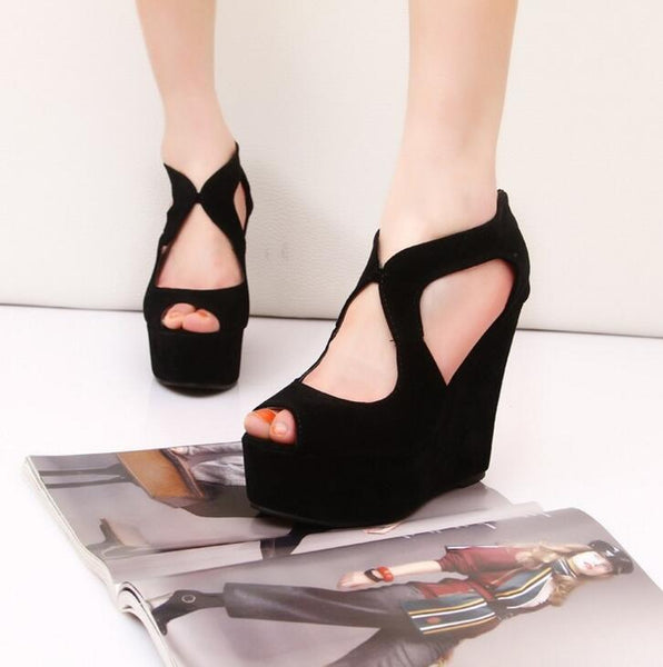 Platform high-heeled open toe wedges shoes