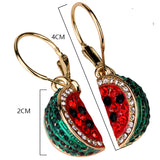 Watermelon Dangle Earrings Crystal Rhinestone Charm Jewelry
