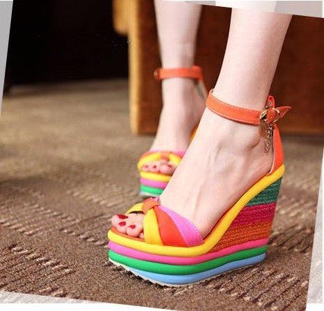 Sexy Bohemia Rainbow Peep Toe Wedges Sandals For Womens Ladies